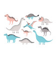 funny dinosaurs collection cute childish vector image vector image