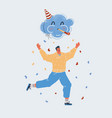 funny jumping huppy man on vector image vector image