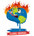 global warming with earth on fire vector image vector image
