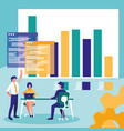 group of business people with statistics graphic vector image