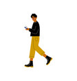 guy in modern clothing using smartphone trendy vector image vector image