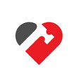 hammer combined with heart or love symbol vector image vector image