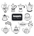 hand drawn teapots collection vector image vector image