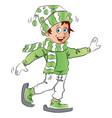 happy teen boy wearing skate shoes and santa hat vector image vector image