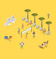 isometric beach volleyball with players vector image vector image