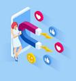 isometric social media likes and follows vector image