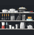 kitchen accessory or kitchenware at shelves vector image