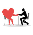 Lover in cafe Man and heart sits at table Love in vector image vector image