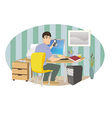 man working from home vector image vector image