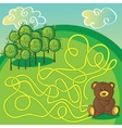 Maze game or activity page Help the bear to vector image vector image