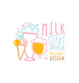 milk shake logo original design element vector image