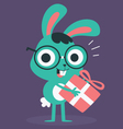 Nerd Bunny Holding a Present vector image vector image