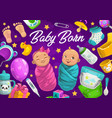 newborn baby boy and girl with accessories vector image