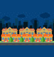 night city with cartoon houses vector image