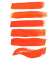 Orange ink brush strokes vector image vector image