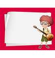 Paper design with boy playing guitar vector image