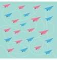 Pink and blue planes with dash lines Pattern vector image