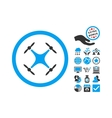 Quadcopter Flat Icon With Bonus vector image vector image