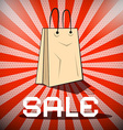 Sale Title with Paper Shopping Bag on Retro Red vector image vector image