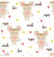 seamless pattern with cute cartoon little mouse vector image