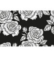 seamless pattern with vintage rose flowers black vector image vector image