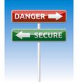 Secure - Danger way traffic road board vector image vector image