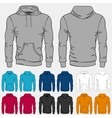 set colored hoodies templates for men vector image