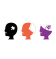 set of alzheimers disease icons art vector image vector image