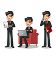 set of businessman in black suit working on gadget vector image vector image
