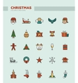 Set of Christmas and Happy New Year line flat vector image vector image