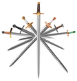 set of swords cross crosswise vector image vector image
