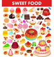 set sweet food with cake cookies jelly donuts vector image vector image