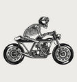 skeleton in helmet and goggles riding motorcycle vector image vector image