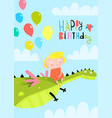 small girl kid and dragon in sky vector image vector image