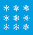 snowflake winter set blue isolated icon vector image vector image