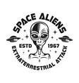 space aliens black emblem in vintage style vector image vector image