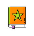 spells-book with magic star sign bookworm isolated vector image