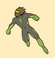superhero flying action cartoon superhero man vector image