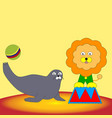 the speech of the lion and the seal in the circus vector image