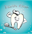 tooth with a toothbrush smiling vector image vector image