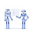 two robots examine virtual hud interface vector image vector image