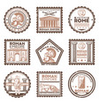 vintage ancient rome civilization stamps set vector image vector image