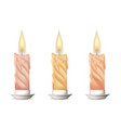 wax candle candle burn on white background vector image vector image