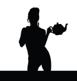 woman black silhouette with teapot vector image vector image