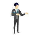 young asian happy groom gesturing vector image vector image