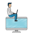 young man working with laptop and monitor vector image