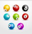 Bingo lottery balls set numbers background Lottery vector image