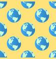 seamless pattern globe earth on yellow vector image
