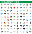 100 gameplay icons set cartoon style vector image vector image