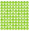 100 landmarks icons set green circle vector image vector image